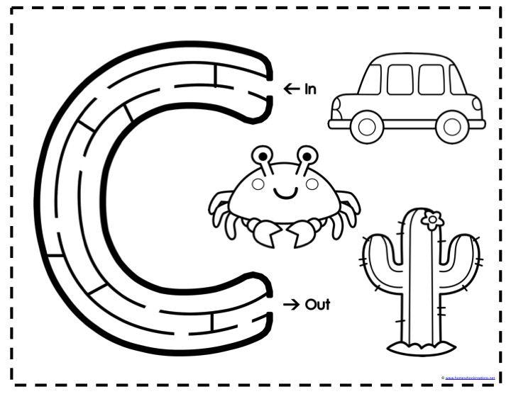 Alphabet Mazes Worksheets For Kids Alphabet Preschool Preschool Letters Maze worksheets for kindergarten