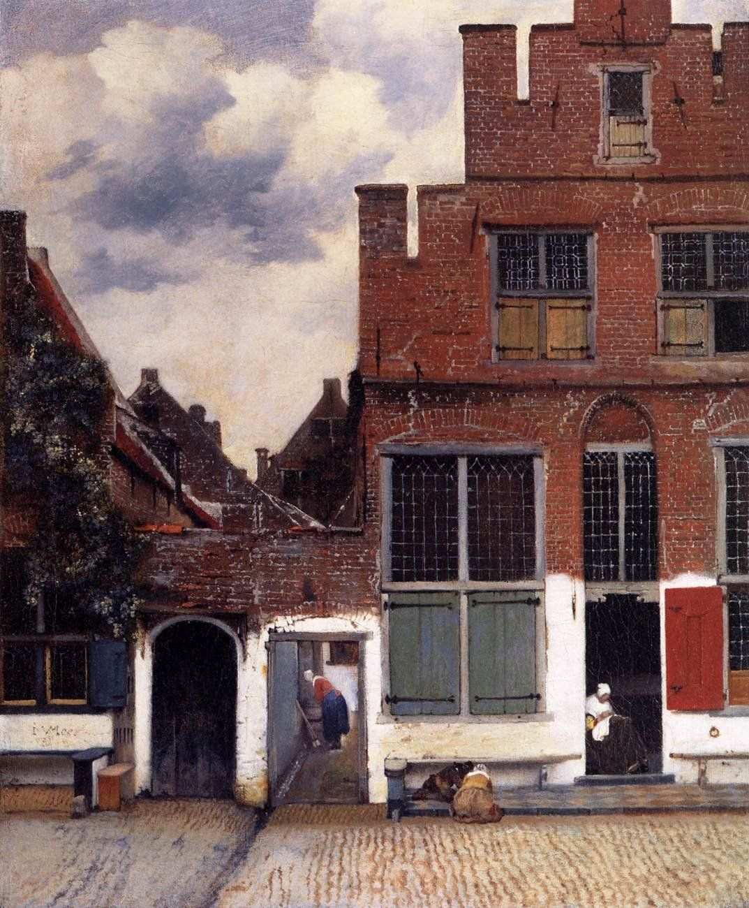 """View of Houses in Delft, known as """"The Little Street""""c. 1658; Oil on canvas, 54.3 x 44 cm; Rijksmuseum, Amsterdam.In a cobblestone street are two houses with a gate opening onto the passageway between them. A woman sits in an open doorway, busy sewing; two children are playing on the stoop. Soapy water is washing down a small runnel between the paving stones - probably the woman in the passageway has just scrubbed her part of the stoop. Vermeer has recorded this everyday scene with…"""