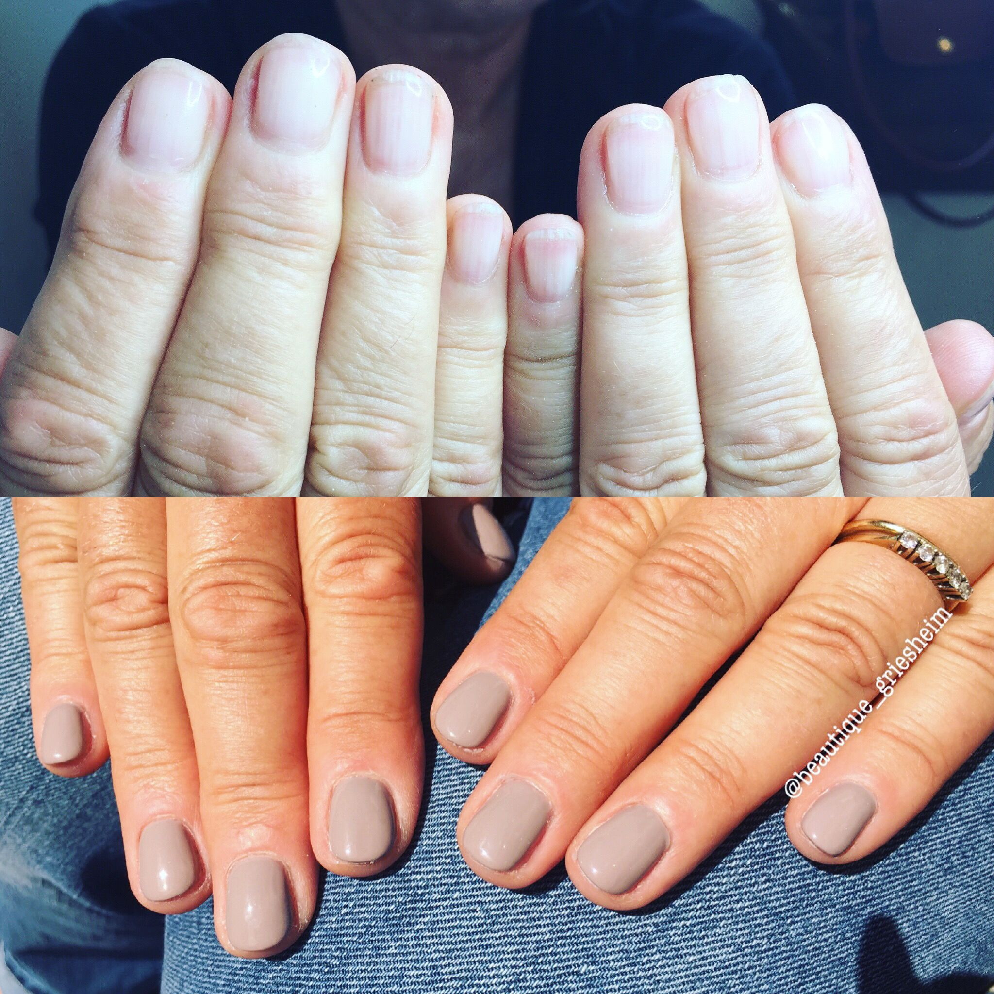 Natural Nails With Strength Gel Before And After Grey Manicure Shellac Style