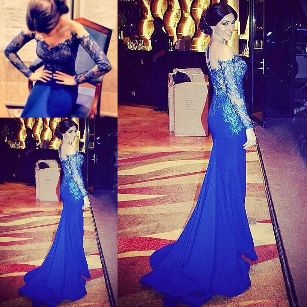 Royal blue long sleeve lace evening dresses sheer neck