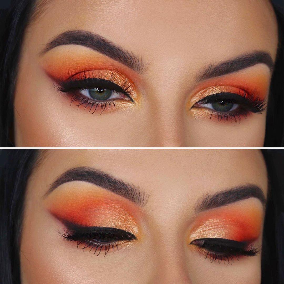 Summer makeup Orange lipstick makeup, Orange eye makeup