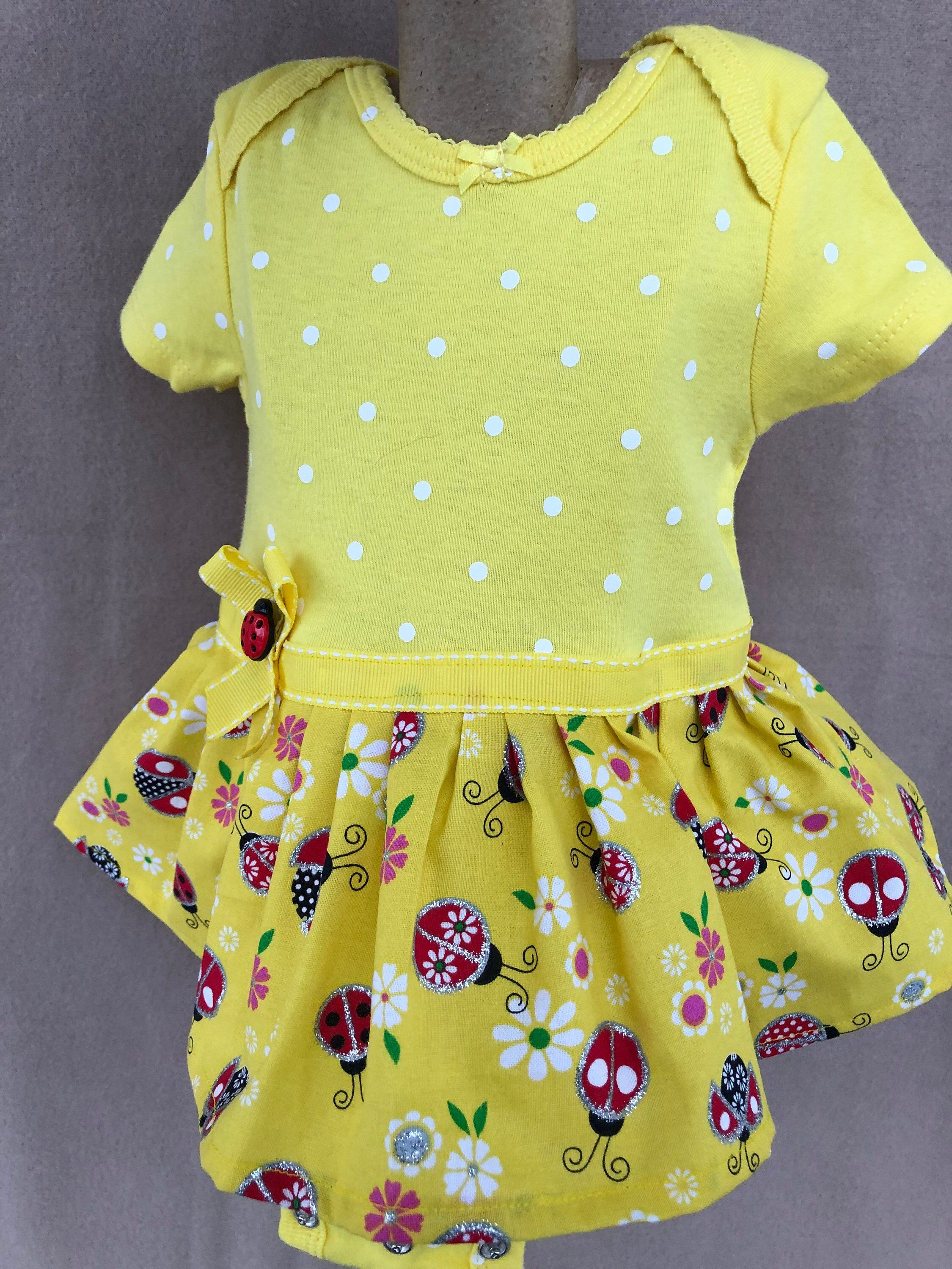 4048fcd8a Excited to share the latest addition to my #etsy shop: girls 3 months onesie  dress/ yellow lad bug dress/ girls onesie/ girls dresses