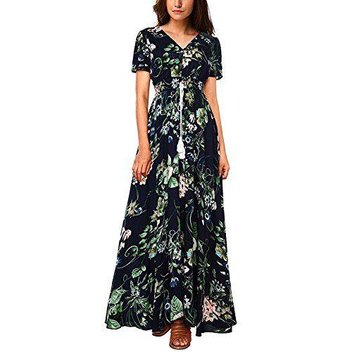 6d7dcb81e57c5e iShine Sommerkleid Damen V-Ausschnitt A-Linie Kleid Lang Strandkleid  Maxikleid mit Blumen Abendkleid Partykleid-DG-L. Material:  BaumwollePolyester.100% Neu ...