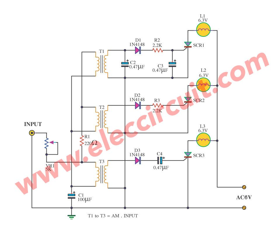 Cheap Home Disco Lights Circuit By Scr Ic555 Ic4017 Disco Lights Light Music Diy Electronics