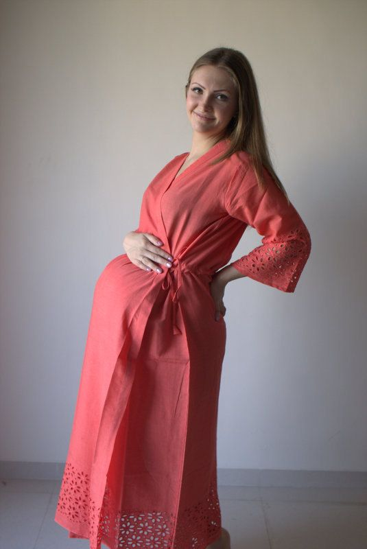 New String Robe Coral Eyelet Ankle Length Maternity Hospital Gown