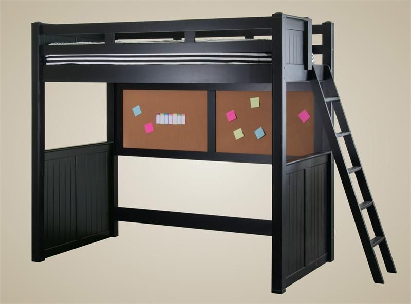 Sidney Black Full Size Loft Bed Wood Ladder Lofts And Woods