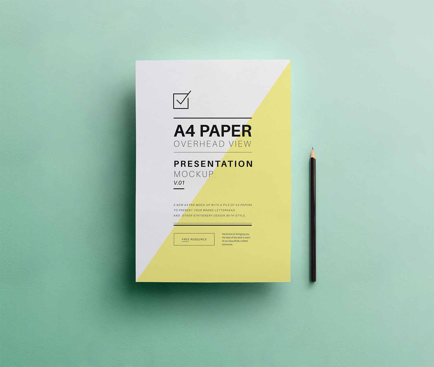 PSD A4 overhead paper mockup to showcase your branding
