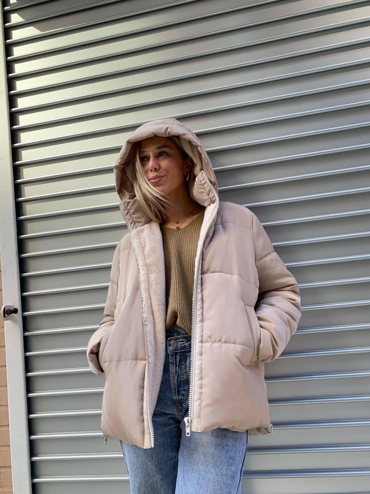Aman Taupe Fashion Street Wear Puffer Jackets [ 2049 x 1536 Pixel ]