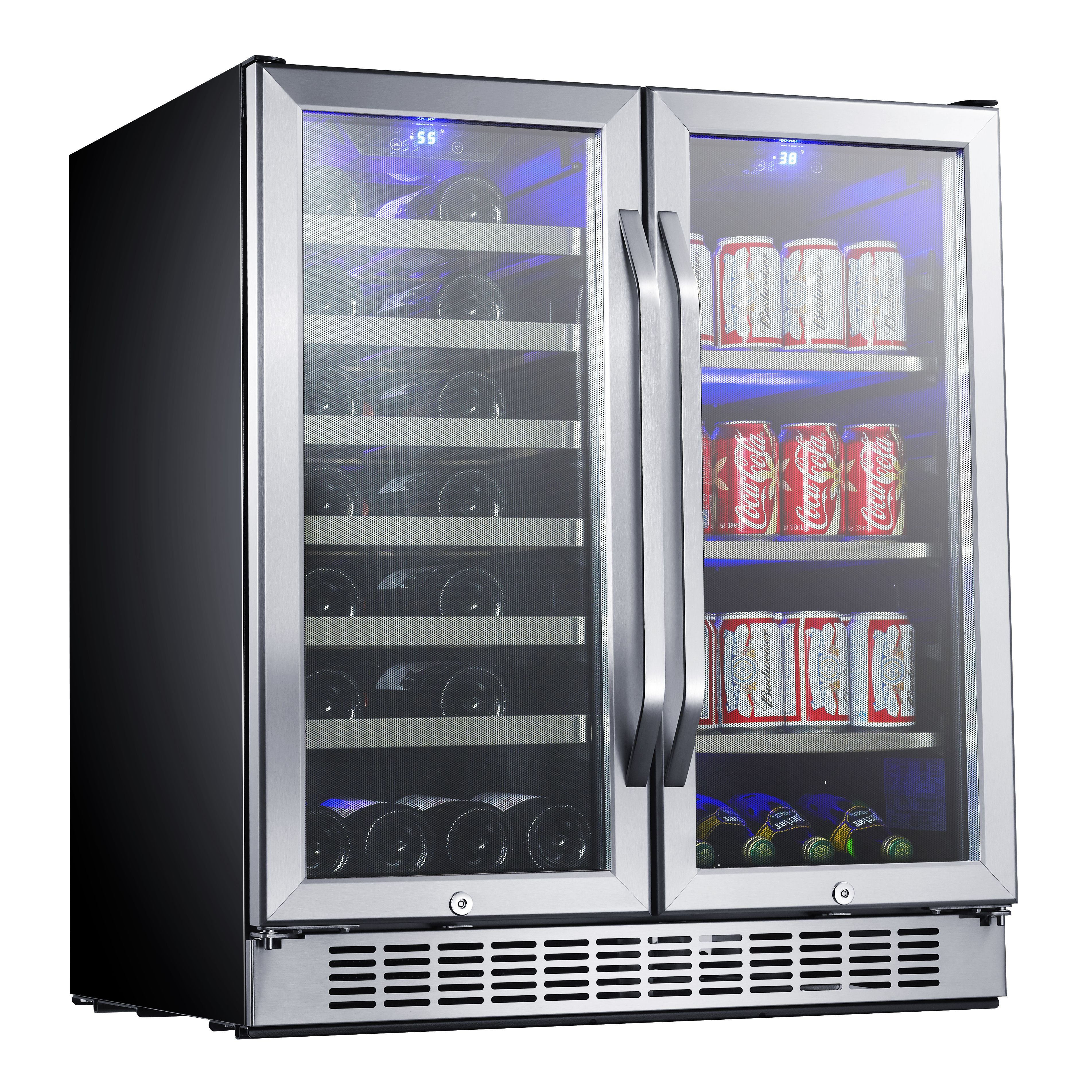 30 Built In French Door Dual Zone Wine And Beverage Cooler