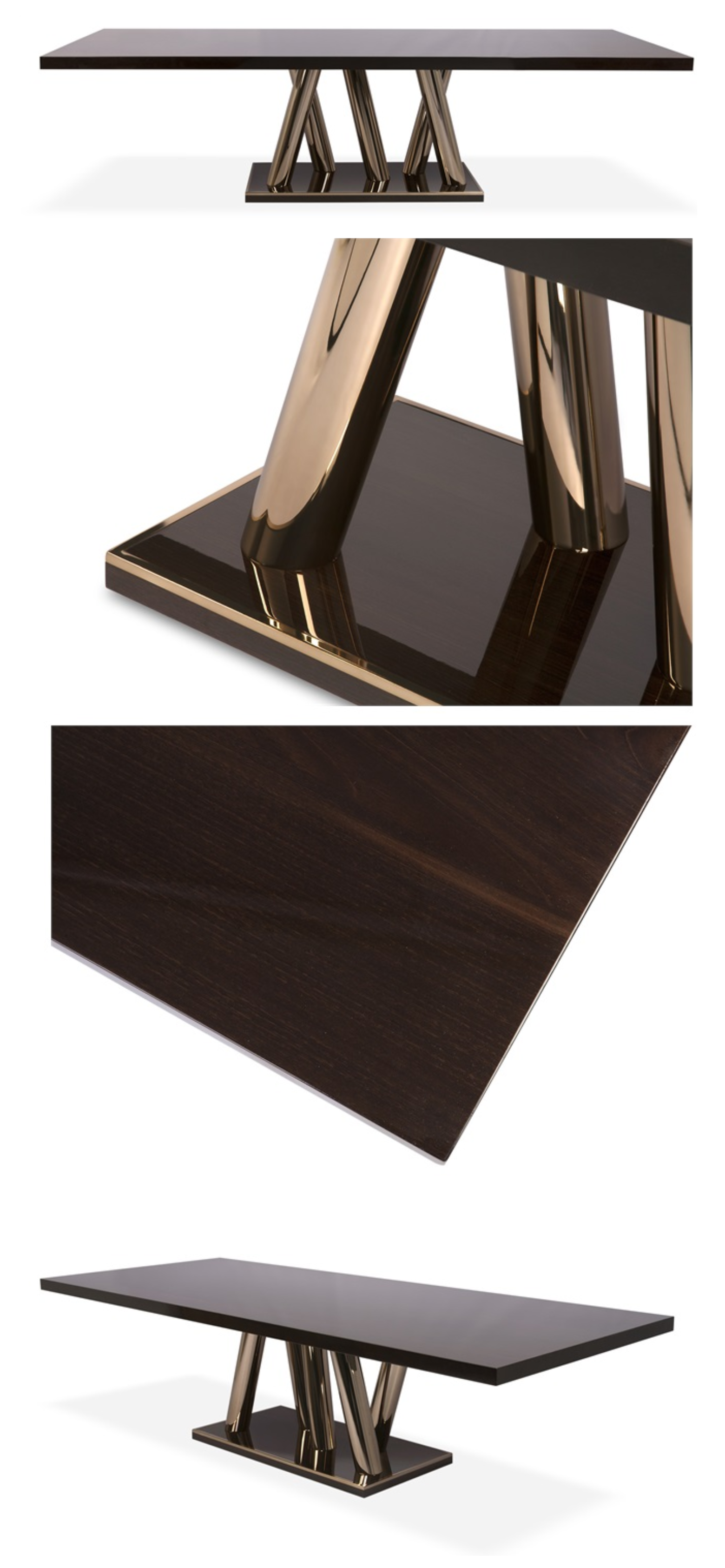 The High Shine Chestnut Table Top Polished To Glossy Perfection Is Contrasted With An Asymmetric Leg Design In