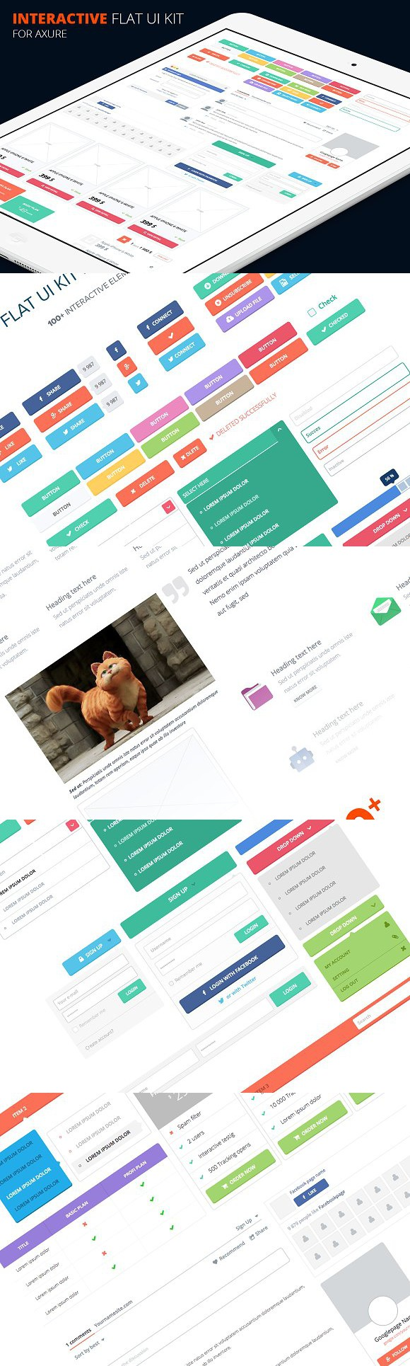 Axure flat UI kit. UI Elements Ui kit, Flat ui