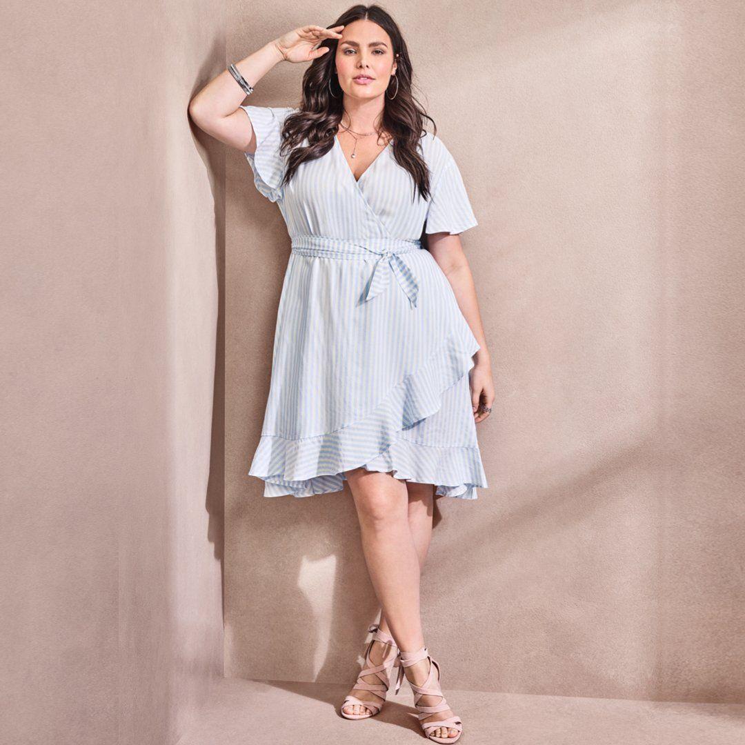 Blue White Striped Challis Wrap Dress Wrap Dress Curvy Plus Size Outfits Curvy Dress [ 1080 x 1080 Pixel ]