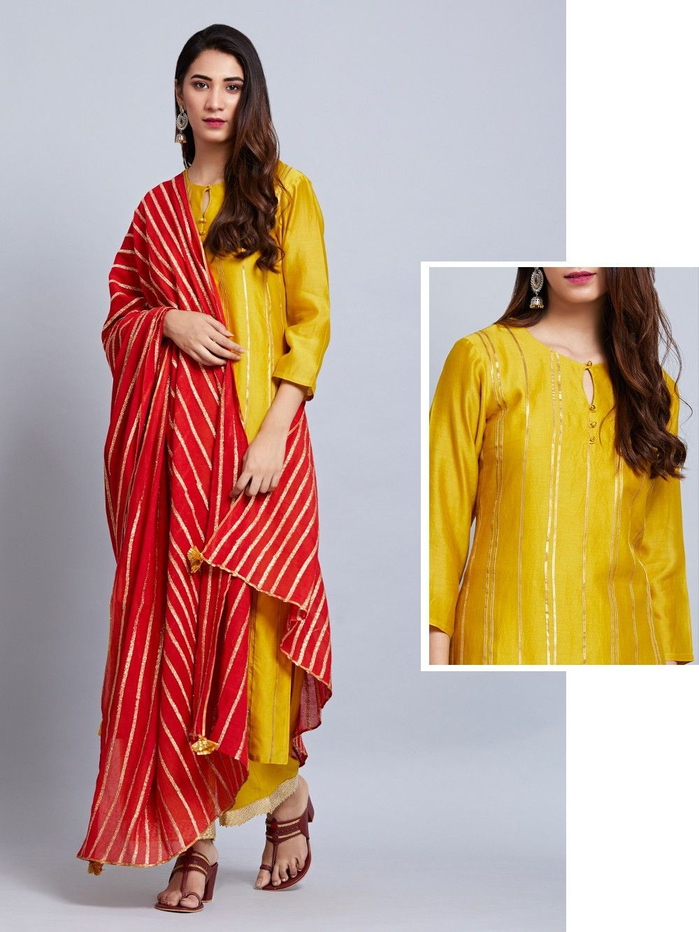 444f972f8db Buy Mustard Yellow Chanderi Kurta with Cotton Palazzo and Red Mulmul  Dupatta- Set of 3 online at Theloom