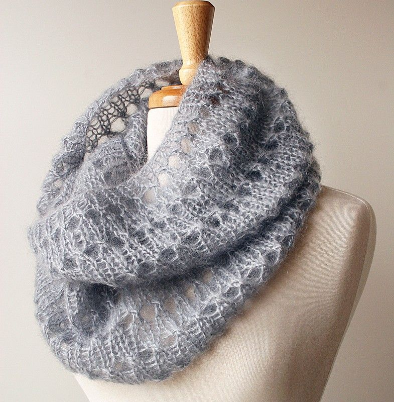 Women Fashion Infinity Hand Knit Scarf Mohair And Silk Cowl