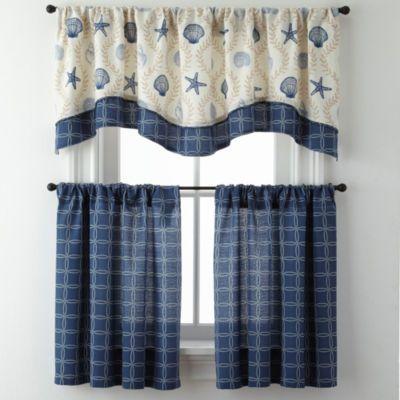 Sea Scroll Lattice Or Rope Lattice Rod Pocket Kitchen Curtains