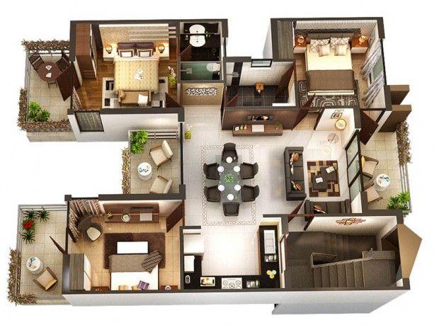 Modern Home 3D Floor Plans