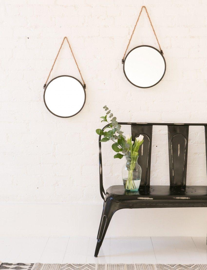 Round Mirror with Hanging Rope | Retro mirror, Mirror ...