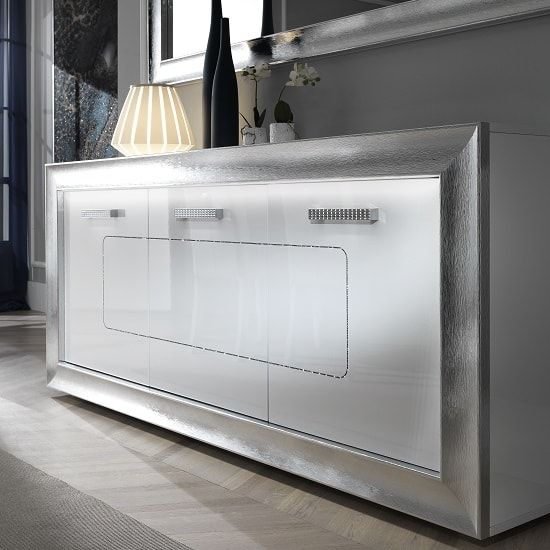 Claire Sideboard In White High Gloss With Steel Effect