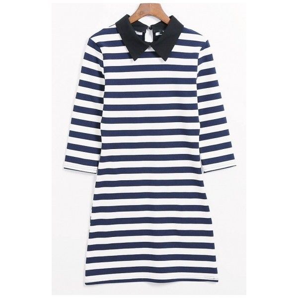 Trendy Color Block Striped Lapel Half Sleeve Shirt Mini Dress ($31) ❤ liked on Polyvore featuring dresses, colorblocked dress, colorblock dress, half sleeve dresses, elbow length dresses and color block dress