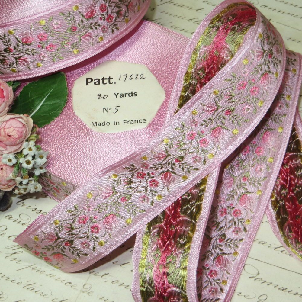 1y  VTG FRENCH PINK ROSES FLOWER JACQUARD RIBBON WORK TRIM DOLL DRESS HAT LACE