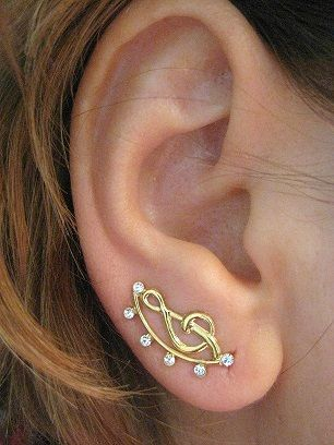 Ear Pin Ear Sweep Climber with Gold filled wire and little Swarovsky stones Minimal -  Treble Clef -   Free shipping by AB FashionDesign, $14.31 USD