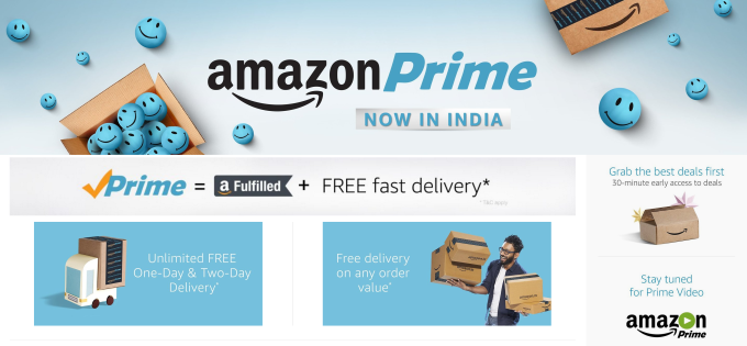 Amazon Prime Launches In India Initially Without Prime Video Service Techcrunch Amazon Prime Now Amazon Prime Day Deals Amazon Prime Video