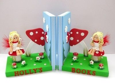 Personalised fairy toadstool bookends