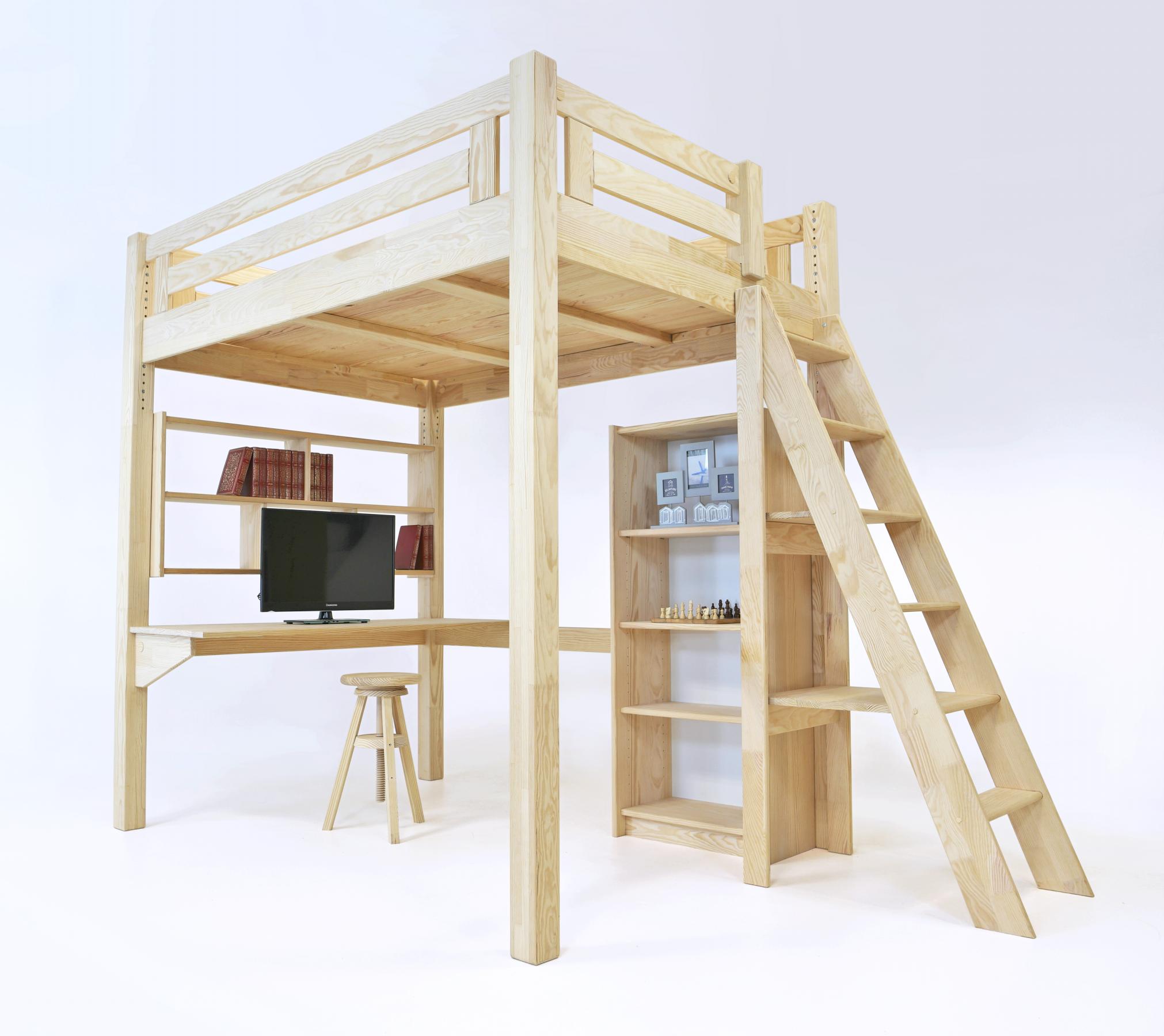 Lit Mezzanine Escalier Cube lit mezzanine alpage bois + échelle hauteur réglable en 2020