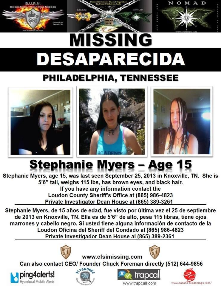 9/25/2013 Stephanie Meyers, 15, is missing from Knoxville