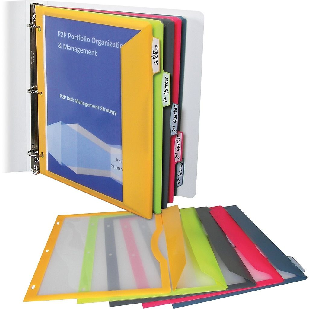 Binder Pocket With Write On Index Tabs 8 1 2 X 11 Assorted 5 Set Cli06650 At Staples In 2020 Binder Pockets Colorful Binders Binder Accessories