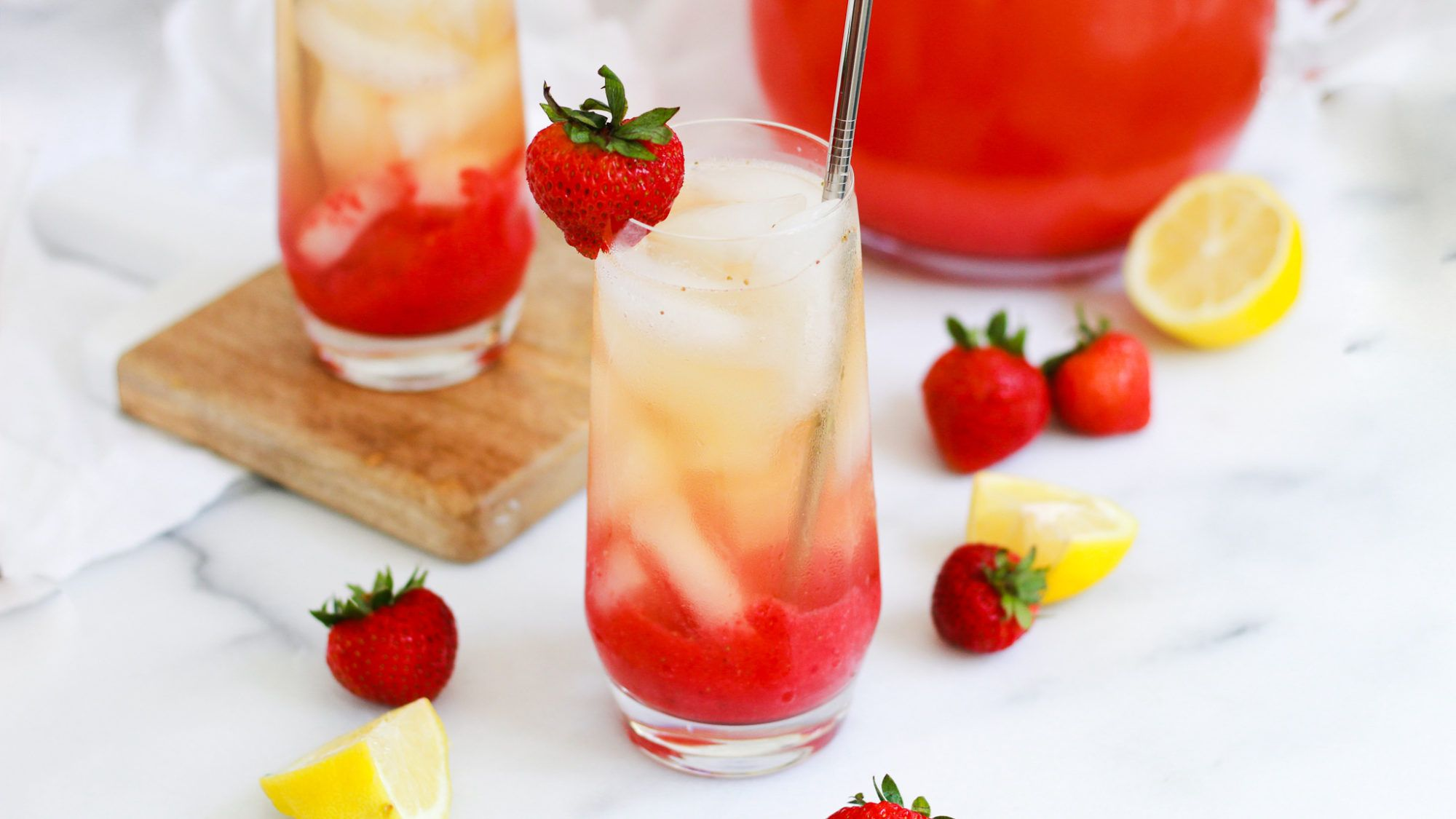 Photo of Iced Strawberry Green Tea Lemonade – The Banana Diaries
