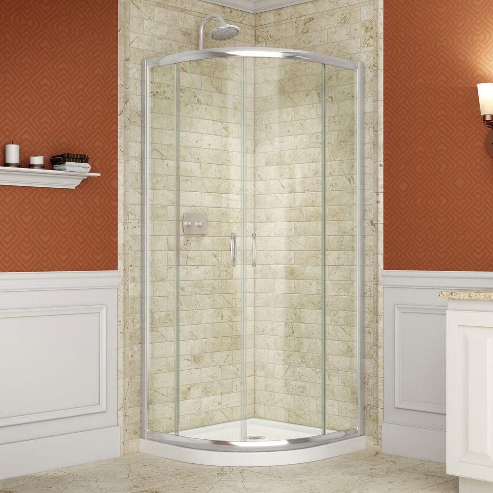 DreamLine Prime 38 In. X 38 In. X 74.75 In. Framed Sliding Shower Enclosure  In Chrome With Quarter Round Shower Base