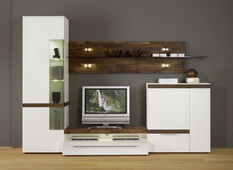 wohnwand casale cs2 von gwinner in lack weiss nussbaum natur wohnwand schrankwand wohnen. Black Bedroom Furniture Sets. Home Design Ideas