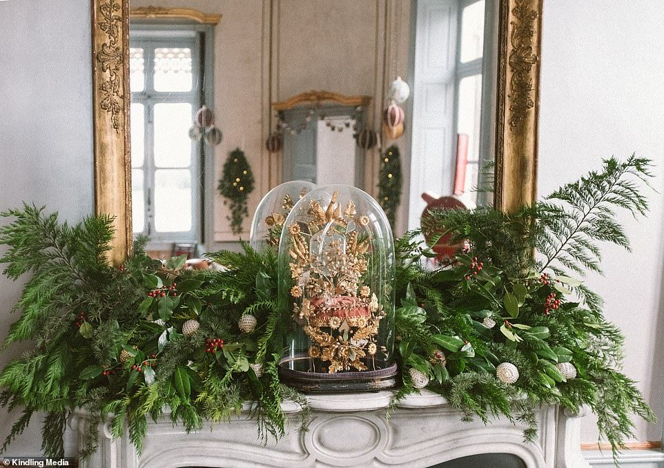 There Is Plenty Of Christmas Foliage On Display At The Chateau Including Above The Firepl Angel Strawbridge Hosting Christmas Castle Christmas
