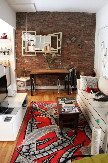 Apartmenttherapy House Tour Small Bachelor Studio Apartment Living Dining Area