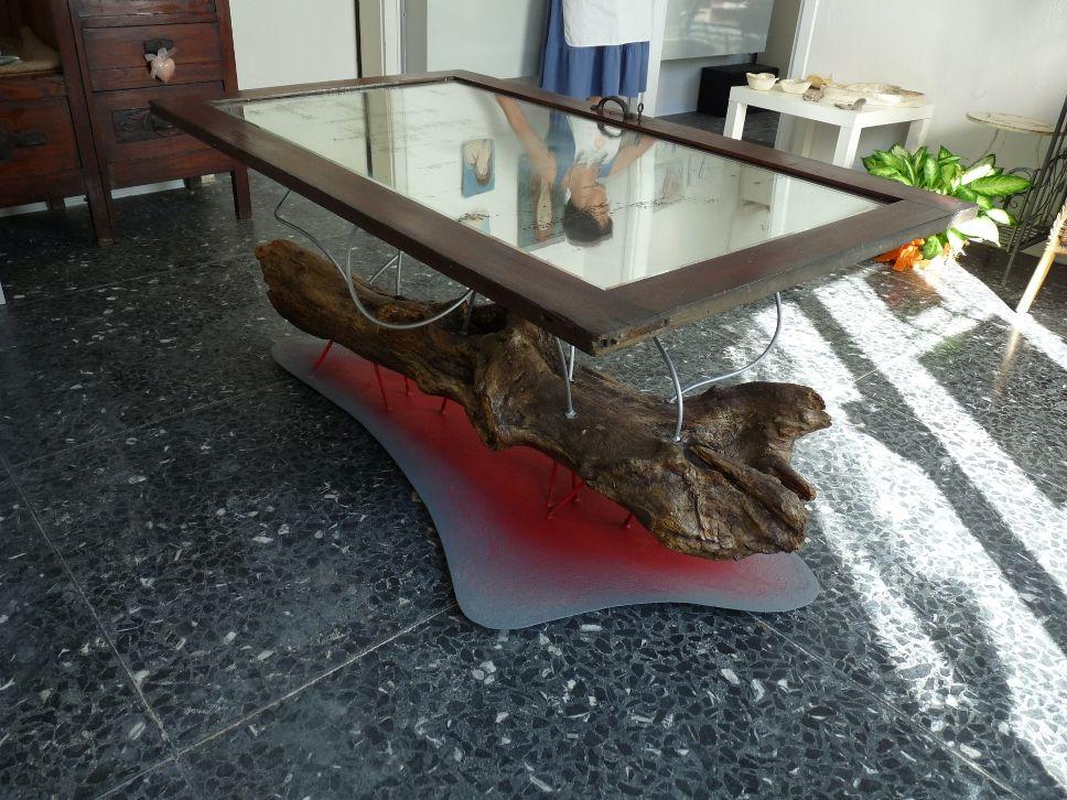 Tavolo Tronco ~ Woodoo tavolo realizzato con un vecchio tronco un anta di