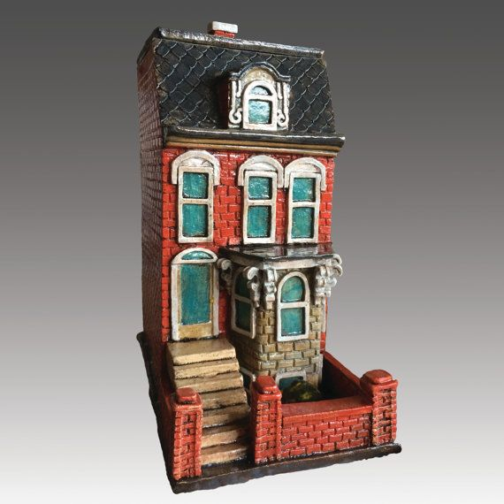 Custom Order Your Very Own Ceramic House Sculpture Architectural Sculpture House Clay House House Architectural Sculpture Ceramic Houses Clay Houses