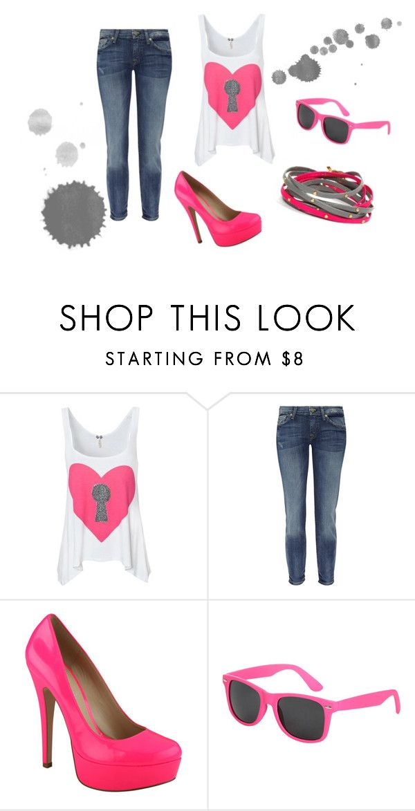 """""""Pink:)"""" by karina-bm ❤ liked on Polyvore featuring 7 For All Mankind, ALDO, Wet Seal and Gorjana"""