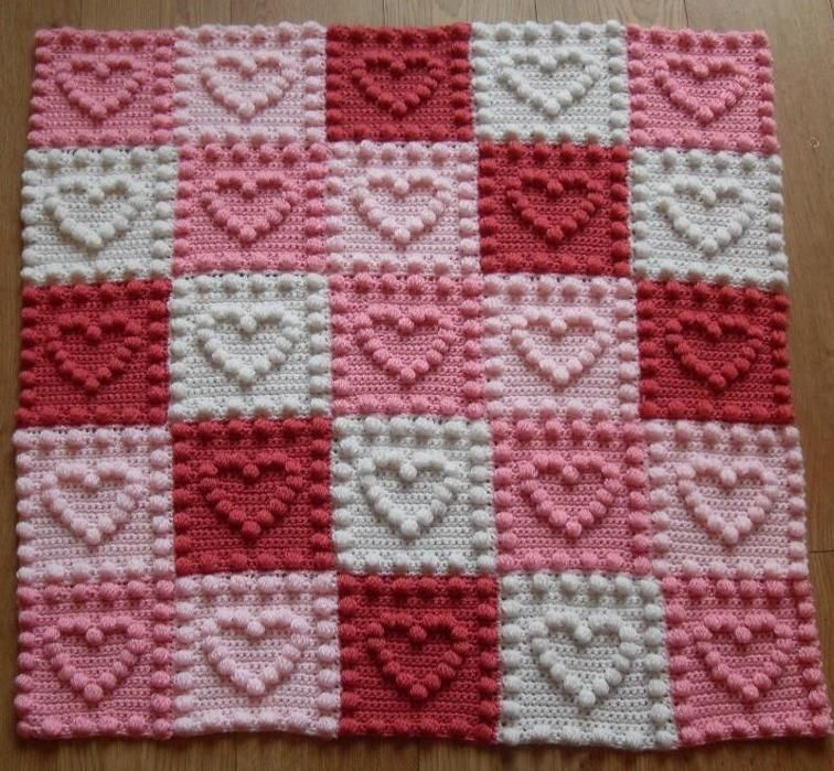 Crochet Pattern Baby Blanket Heart Motifs Battaniye Pinterest