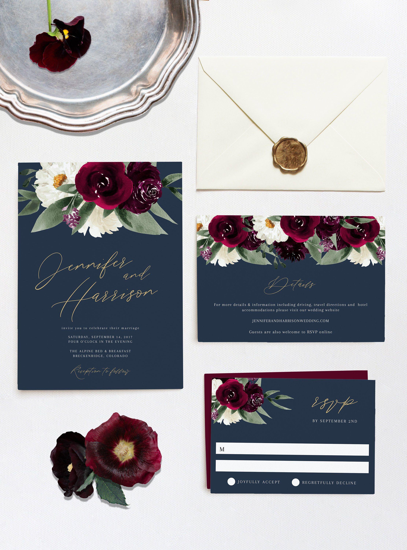 Rosa Bordeaux Wedding Invitation Template Set, Moody