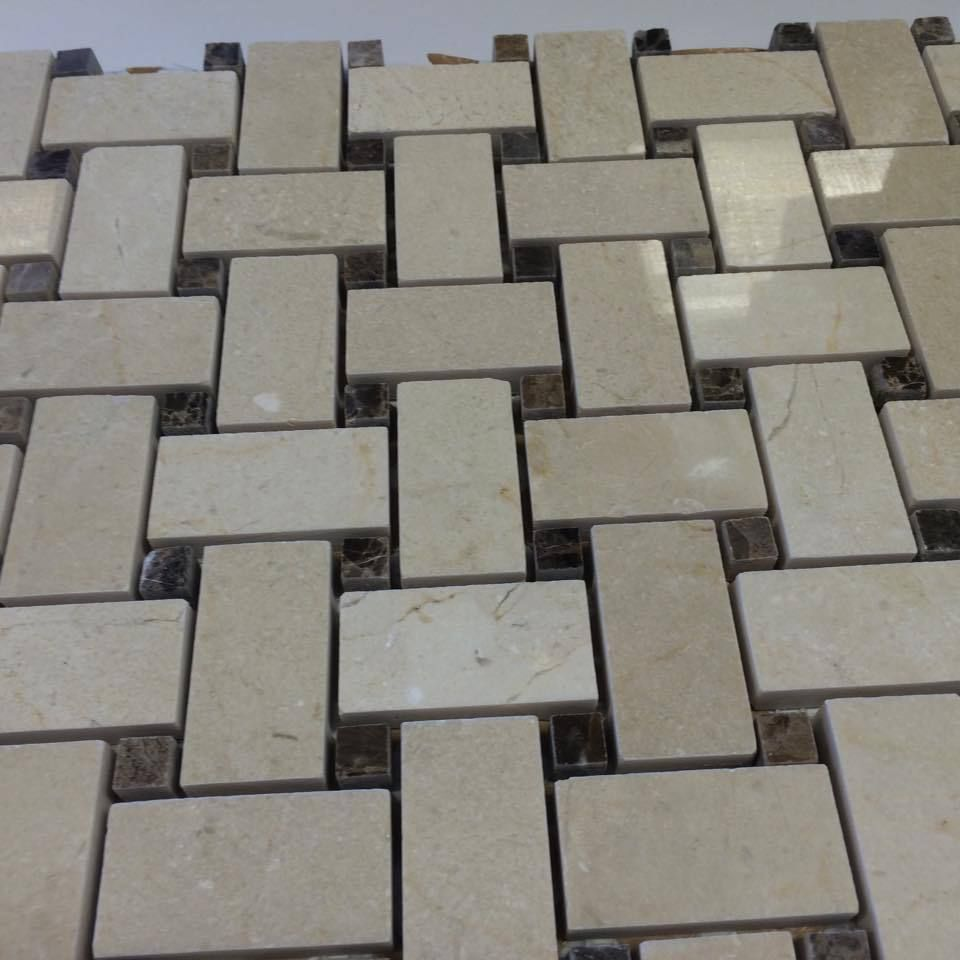 Cream Marfil With Emperador Dark Dots Marble Basketweave Mosaic