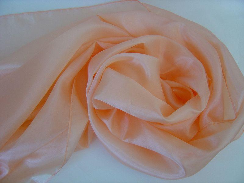 Seidenschals - Seidenschal 180x45cm aprikose Pongee Schal  - ein Designerstück von textilkreativhof bei DaWanda