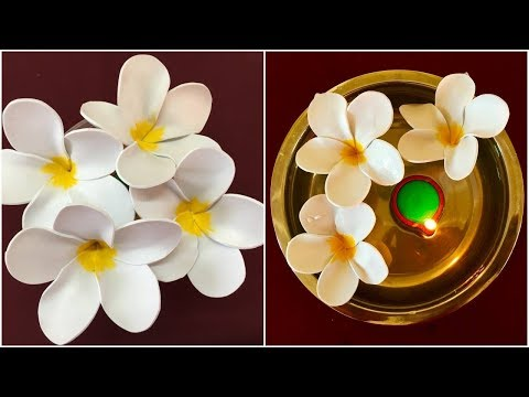110 Foam Sheet Flowers Diy Plumeria Flower From Foam Step By Step Youtube Foam Flowers Flower Making Paper Flowers Diy