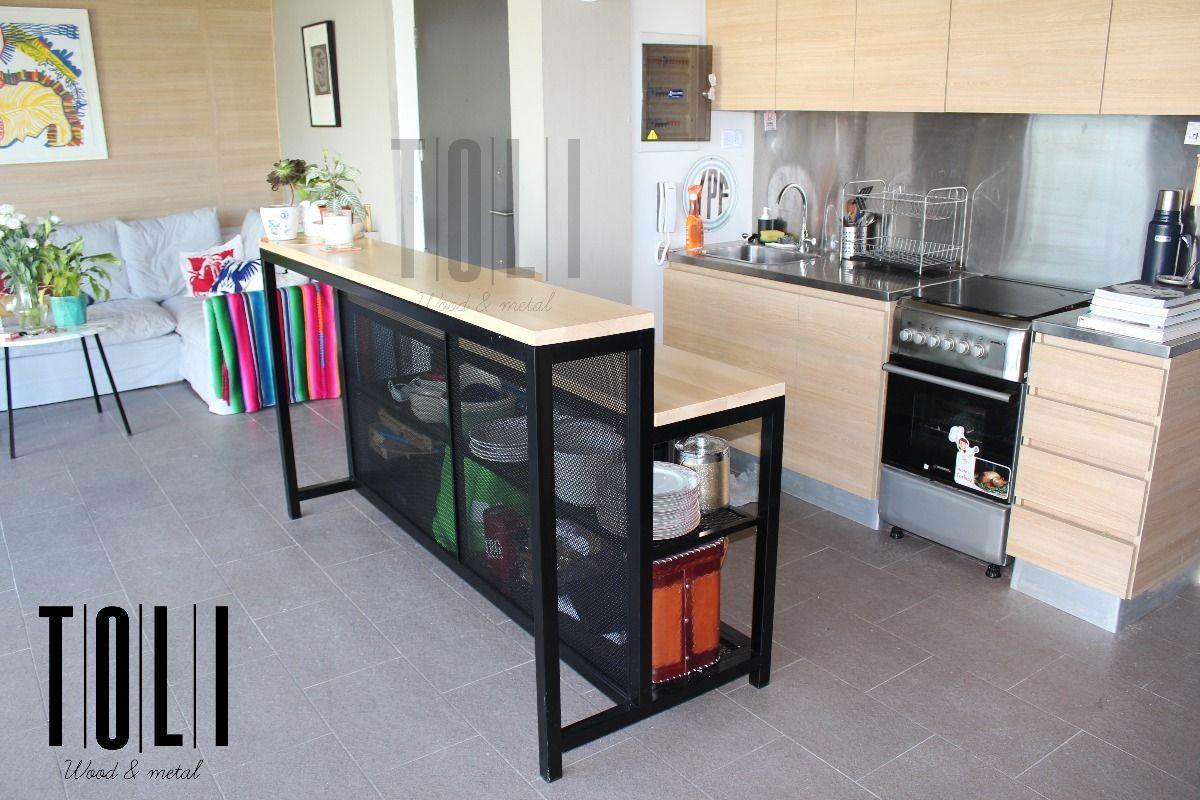 Doble Barra Divisoria Hierro Y Madera 200x70 Guatambu Macizo 44 390 00 Diseño Muebles De Cocina Muebles De Cocina Muebles De Diseño Industrial