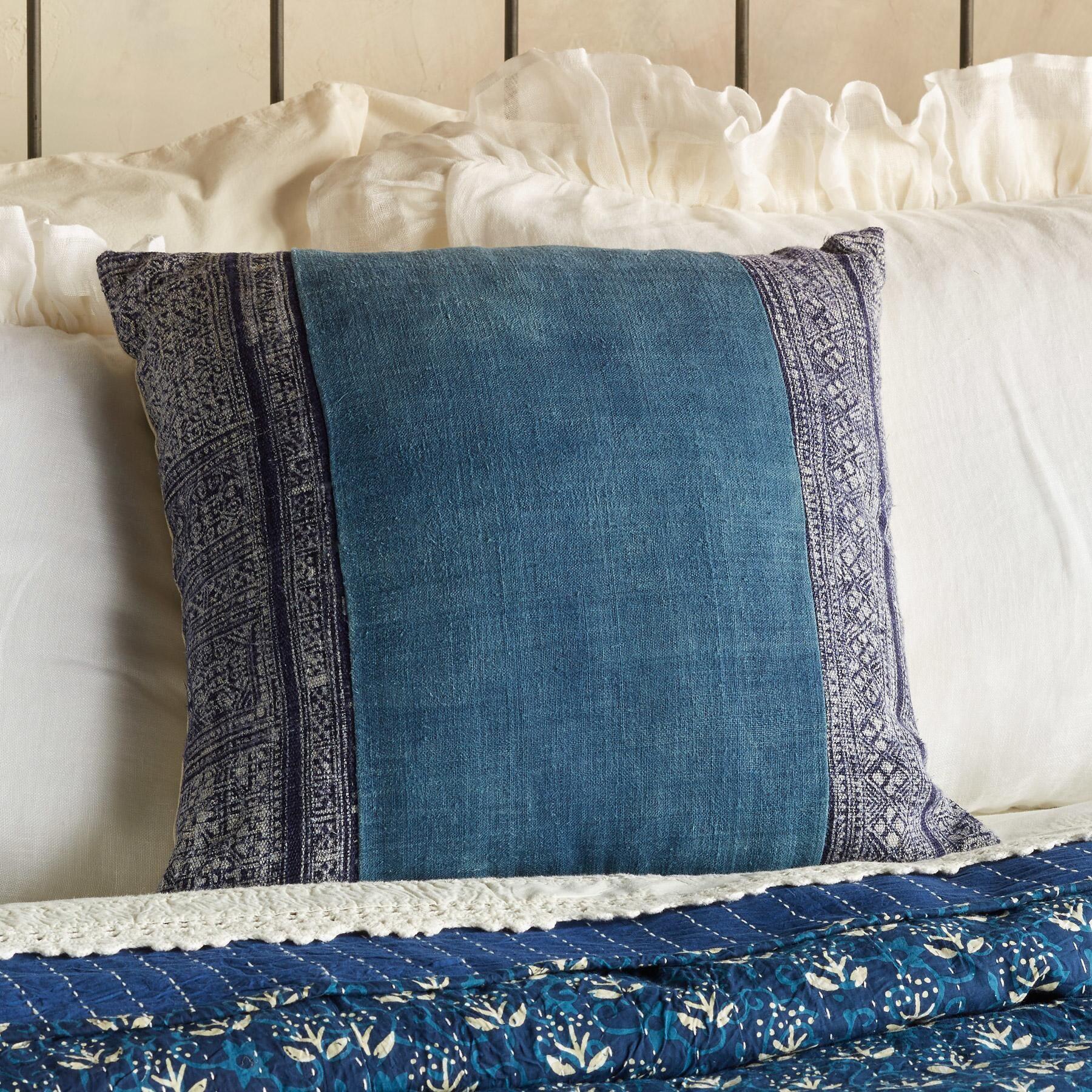 Vintage batik square pillow this oneofakind pillow is