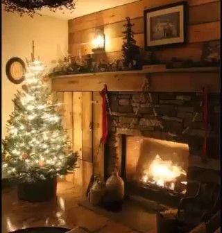 Photo of Christmas fireplace