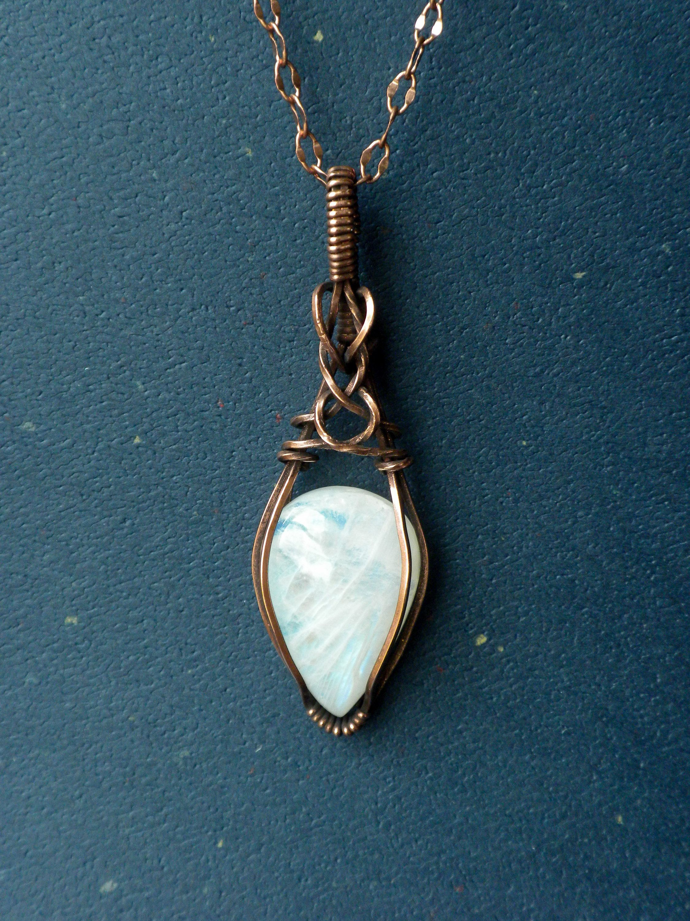 wire wrapped moonstone quality grey moonstone sparkly grey moonstone pendant Grey Moonstone pendant in antiqued copper