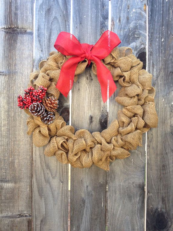 Burlap Craft Ideas For Christmas Part - 28: Berry Burlap 16 Christmas Wreath With Red Burlap Ribbon By Burmae