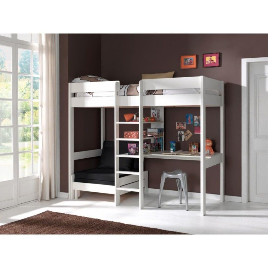 Gray loft bed with desk  Bedroom White wooden loft bed with writing desk underneath mixed