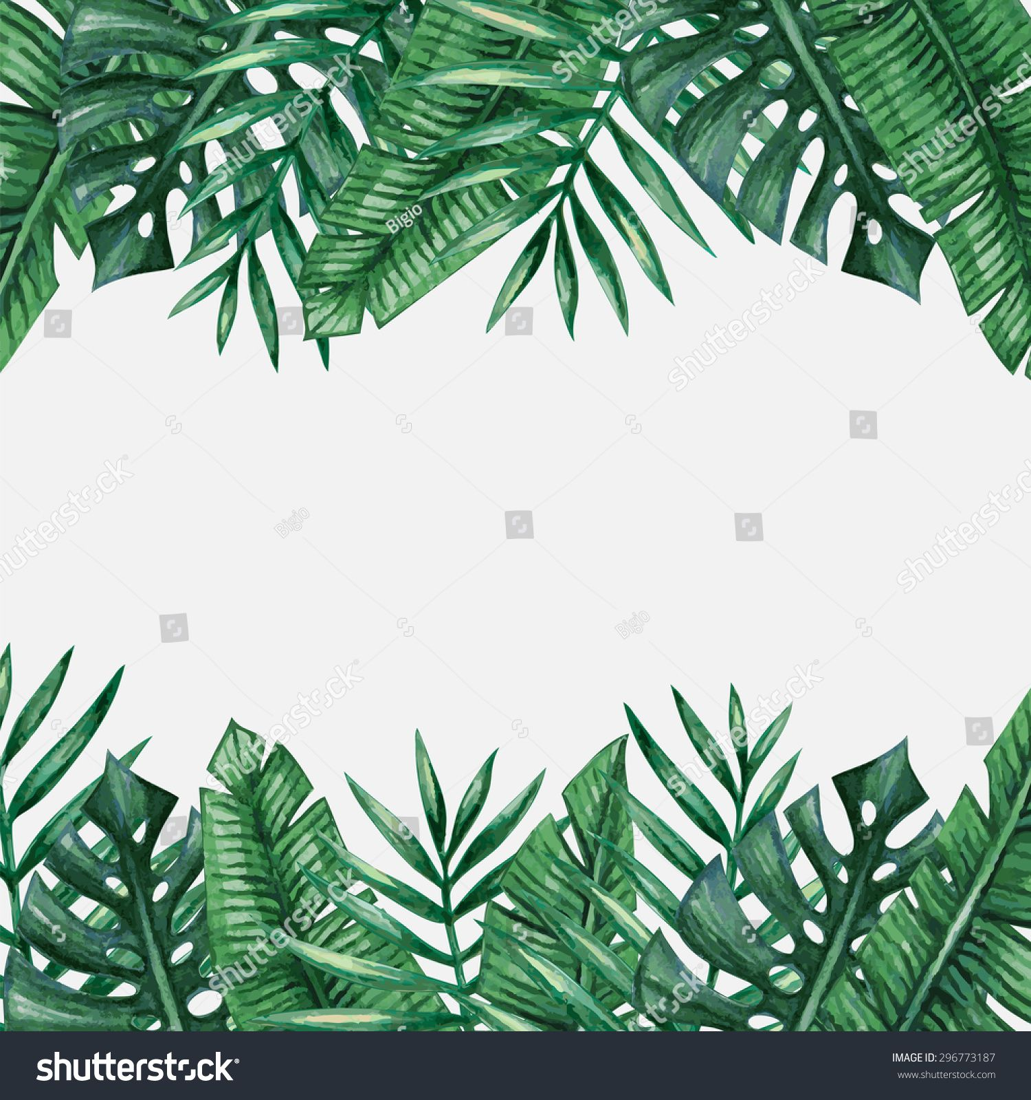 Palm Tree Leaves Background Template Tropical Greeting Card Leaf Background Palm Tree Leaves Background Templates